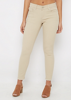 Tan Cut-Off Frayed Jegging