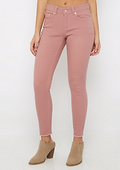 Dusty Pink Cut-Off Frayed Jegging