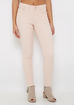 Light Pink Cut-Off Frayed Jegging