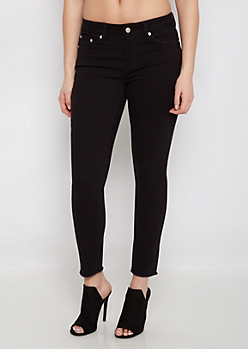 Black Cut-Off Frayed Jegging