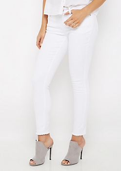 White Cut-Off Frayed Jegging