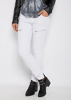 White Moto Skinny Pant