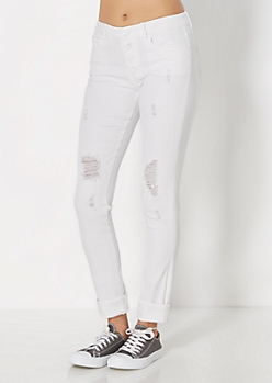 Destroyed White Skinny Jean By Wild Blue x Sadie Robertson®