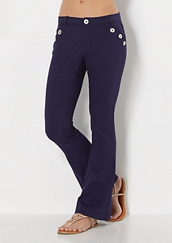 Navy Twill High Waist Flare Pants