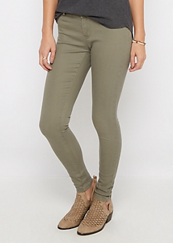 Olive Twill Stretch Jegging