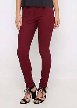 Burgundy Twill Stretch Jegging