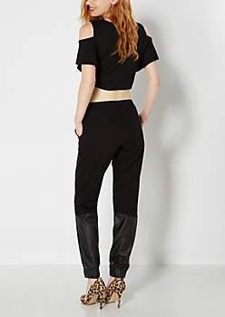 Black Faux Leather Accent Twill Jogger