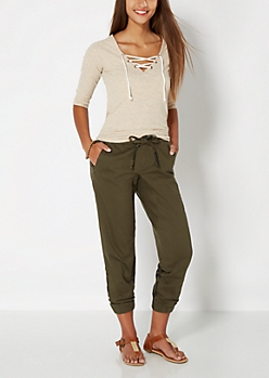 Light Olive Pieced Printed Twill Jogger