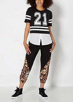 Leopard Paneled Jogger