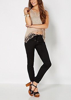 Black Sateen Lace-Up Jogger