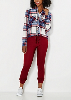 Burgundy Sateen Lace-Up Jogger