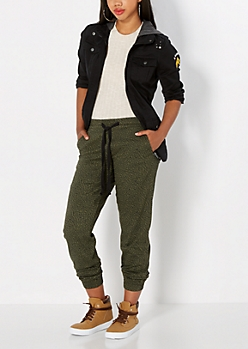 Dark Olive Twill Gusseted Jogger