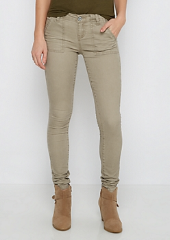 Brown Washed Skinny Pant