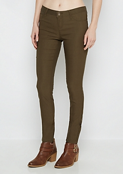 Olive Stretch Twill Jegging