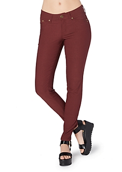 Burgundy Better Booty Twill Stretch Jegging in Short