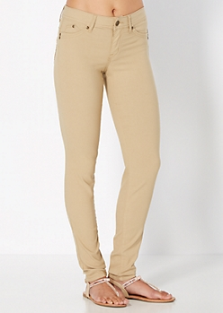 Khaki Better Booty Twill Stretch Jegging