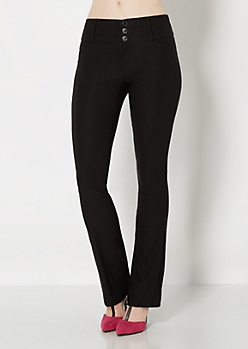 High Waist Twill Slim Boot Pant