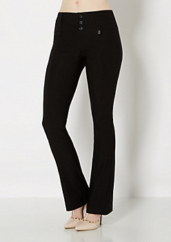 Black Twill High Waisted Boot Pant