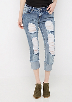 Destroyed Vintage Washed Cropped Jean in Regular