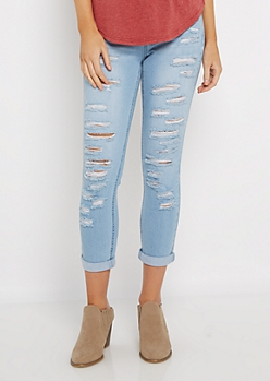 Light Blue Destroyed Mid Rise Cropped Jean