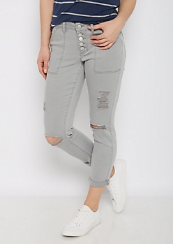 Gray High Waist Ripped & Cropped Jegging