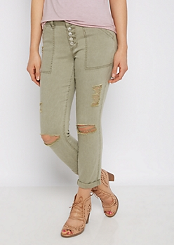 Olive High Waist Ripped & Cropped Jegging