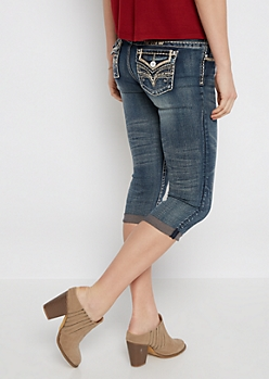 Embroidered Vintage Cropped Skinny Jean