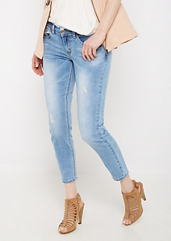 Distressed Frayed Waist Jegging