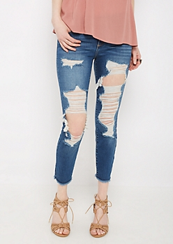 Destroyed & Sandblasted Cropped Jegging in Regular