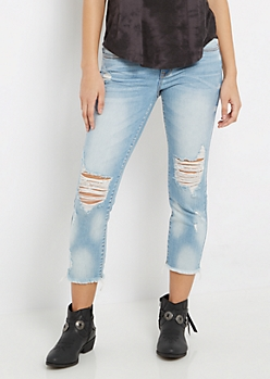 Destroyed Vintage Wash Cropped Jean