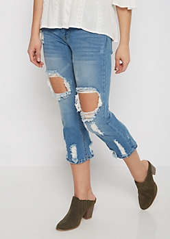 Destroyed Relaxed Cropped Jean