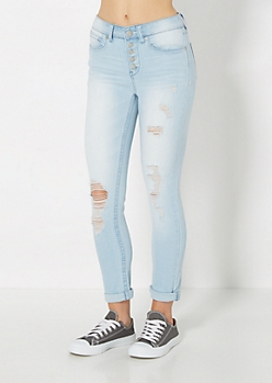 Light Blue Ripped High Waisted Crops