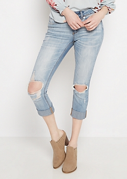 Torn Knee Vintage Cropped Jean in Regular