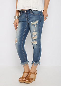 Destroyed Extreme Frayed Cropped Jegging in Regular