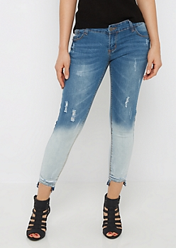 Cat Scratched Stepped Hem Cropped Jean