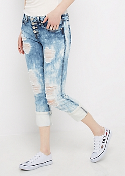 Shredded Acid Wash Cropped Skinny Jean