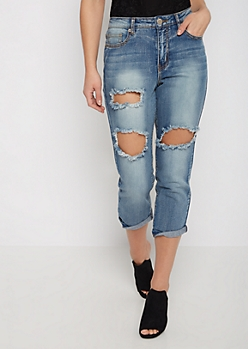 Destroyed & Cuffed Relaxed Cropped Jean