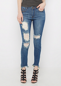 Dark Destroyed Stepped Hem Jegging