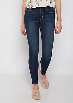 Dark Blue Sandblasted High Rise Jegging in Extra Long