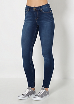 Dark Blue High Wait Brushed Skinny Jean