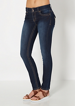 Flap Pocket Inky Skinny Jean in Long