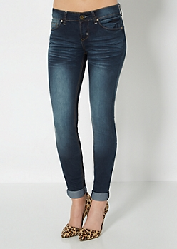 Vintage Cuffed Brushed Skinny Jean