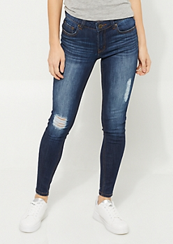 Dark Ripped Mid Rise Jeggings in Short