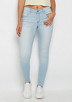 Light Blue Sandblasted Mid Rise Jegging in Long