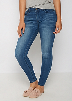 Medium Blue Sandblasted Mid Rise Jegging in Long