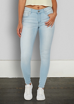 Light Blue Sandblasted Mid Rise Jegging in Extra Long