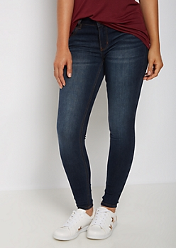 Dark Blue Sandblasted Mid Rise Jegging in Extra Long