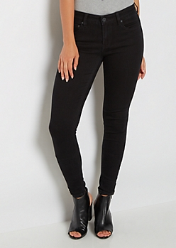 Black Mid Rise Jegging in Long