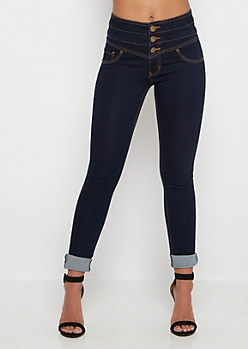 Freedom Flex Dark Blue High Waist Jegging in Long