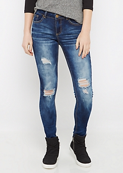 Flex Distressed Dark Blue Jegging in Short